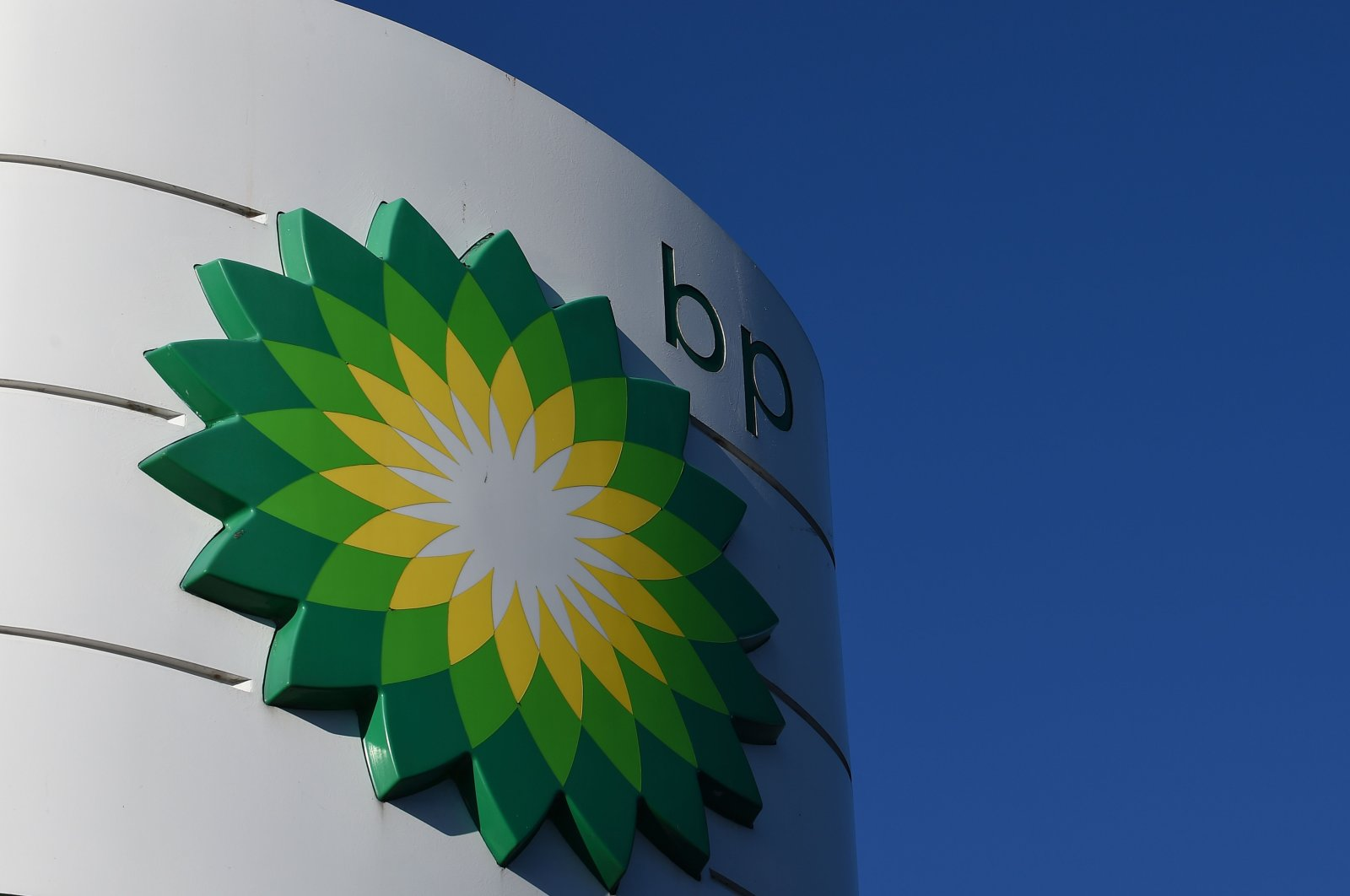 In this file photo taken Feb. 7, 2018, the BP logo is seen at a BP petrol station in Liverpool, England. (AFP Photo)
