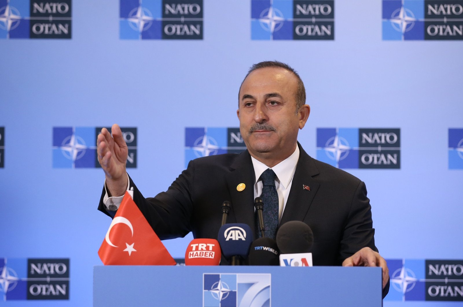Foreign Minister Mevlüt Çavuşoğlu speaks to reporters following a NATO Foreign Ministers Meeting in Washington, D.C., U.S., April 8, 2019. (AA File Photo)