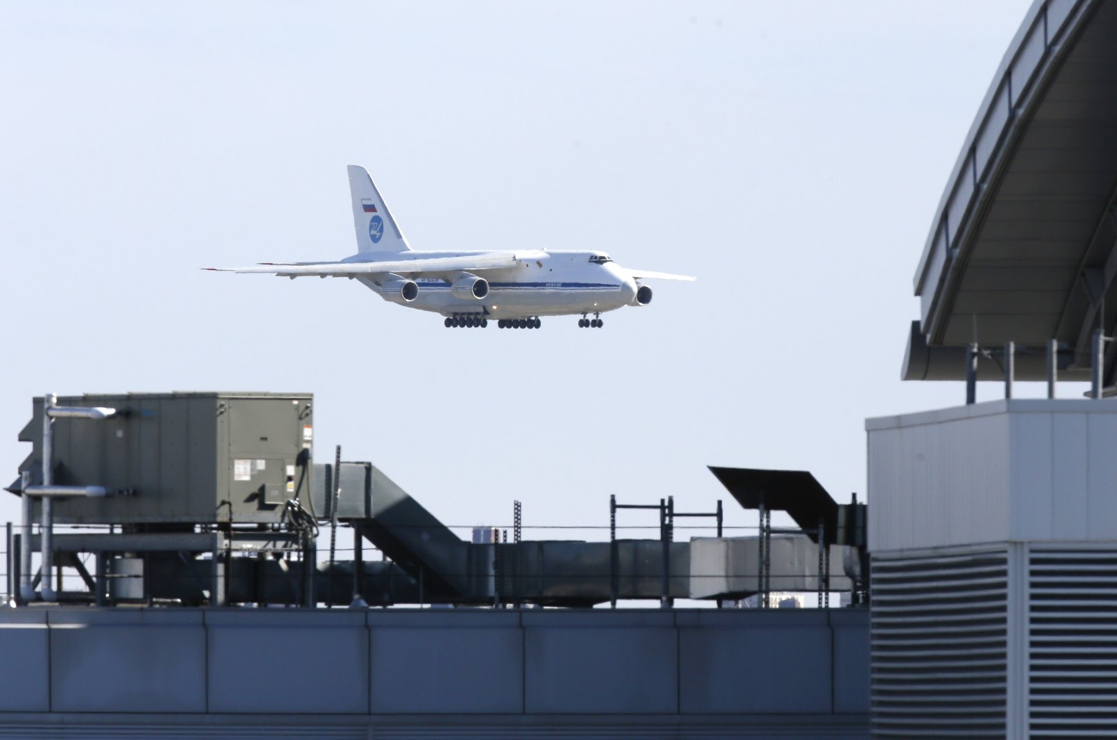 A Russian military transport plane carrying medical equipment, masks and supplies lands at John F. Kennedy International Airport during the outbreak of the novel coronavirus in New York City, New York, U.S., Wednesday, April 1, 2020. (Reuters Photo)