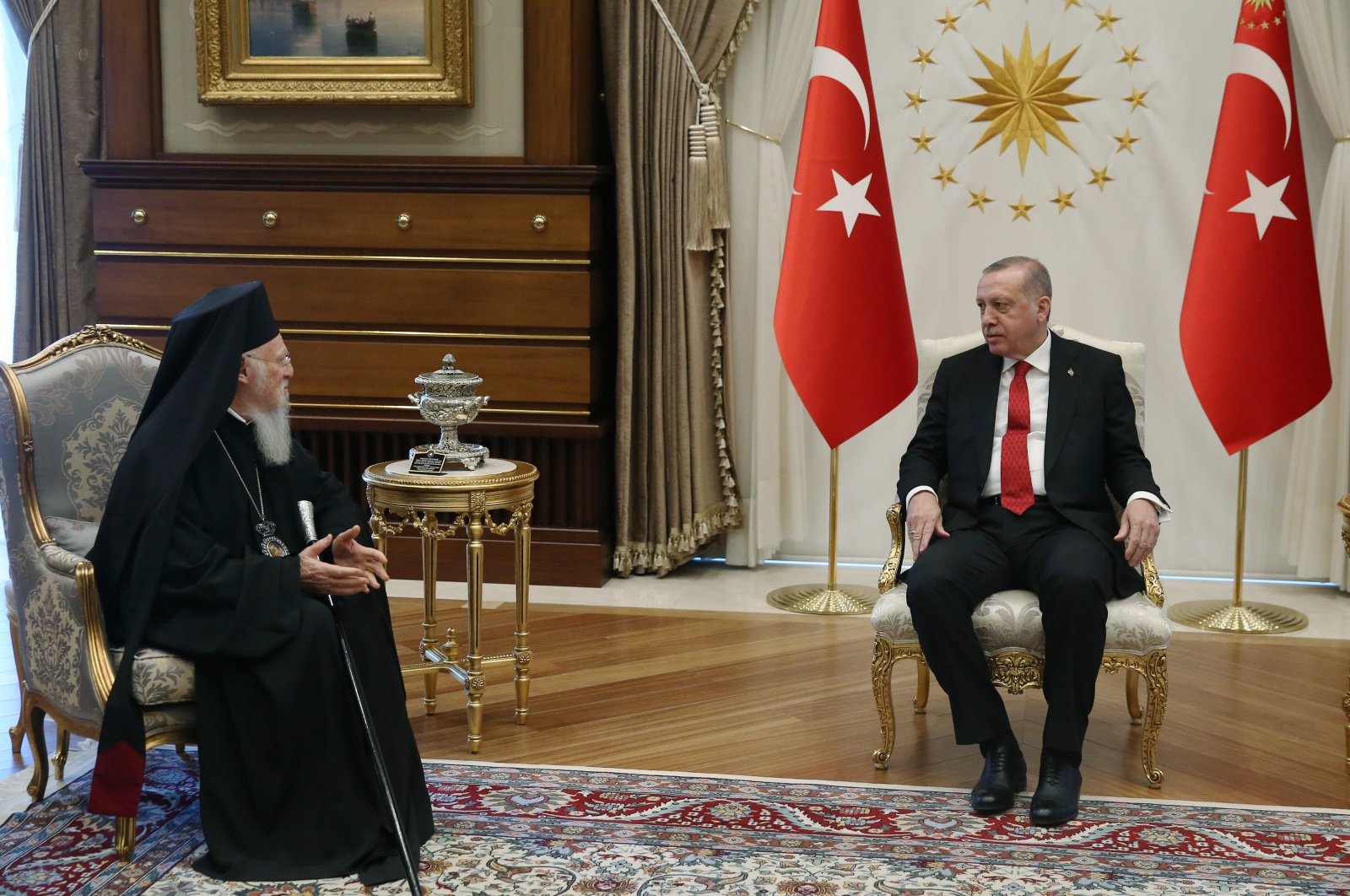 President Recep Tayyip Erdoğan at a meeting with Fener Greek Orthodox Patriarch Bartholomew, in Ankara, Turkey, Thursday, April 26, 2018. (DHA Photo)