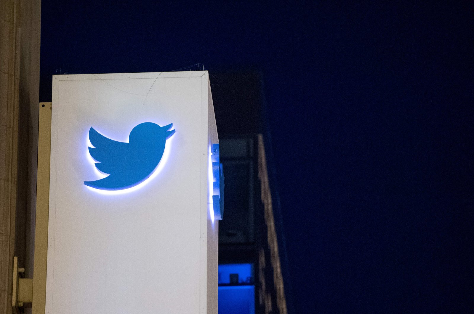 In this file photo taken on November 04, 2016 the Twitter logo is seen on a sign at the company's headquarters in San Francisco, California. (AFP Photo)