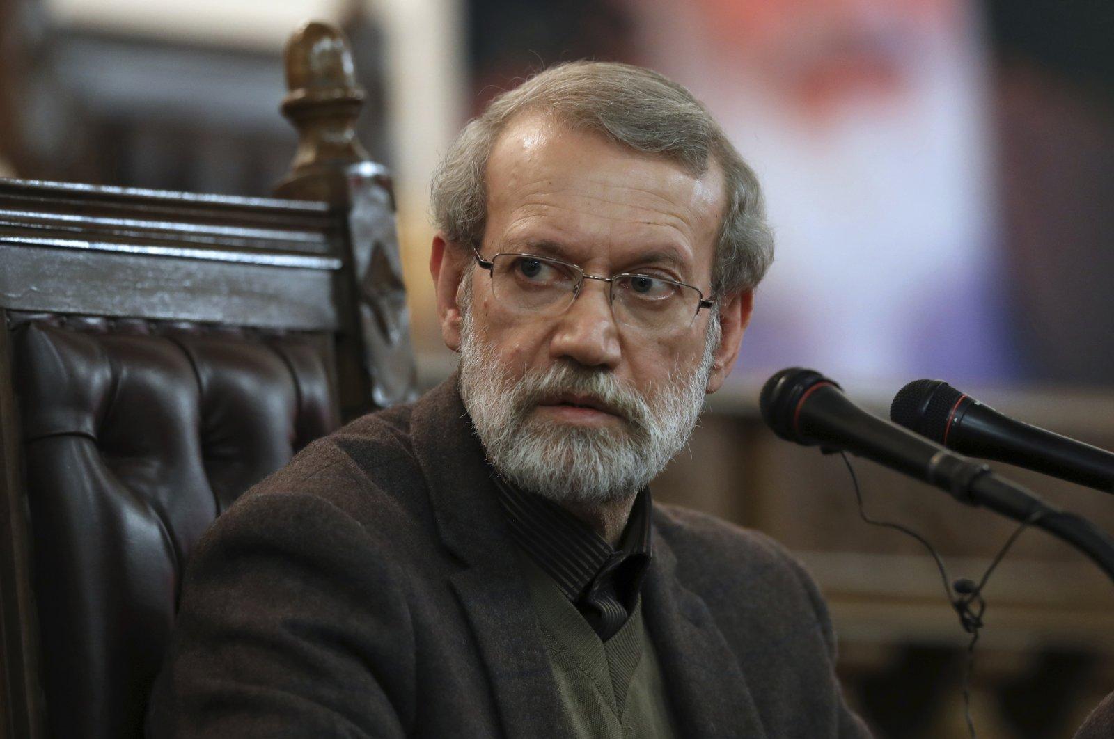 Parliament Speaker Ali Larijani gives a press conference in Tehran, Iran,  Dec. 1, 2019.  (AP Photo)