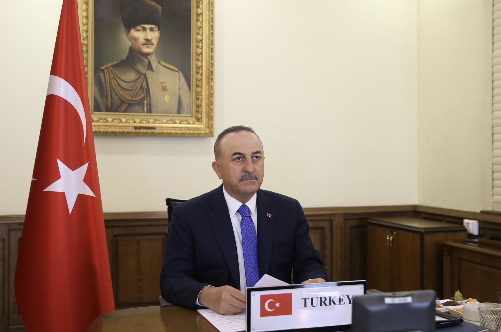Foreign Minister Mevlüt Çavuşoğlu attends NATO foreign ministers meeting via video-conference, Thursday, April 2, 2020. (AA)