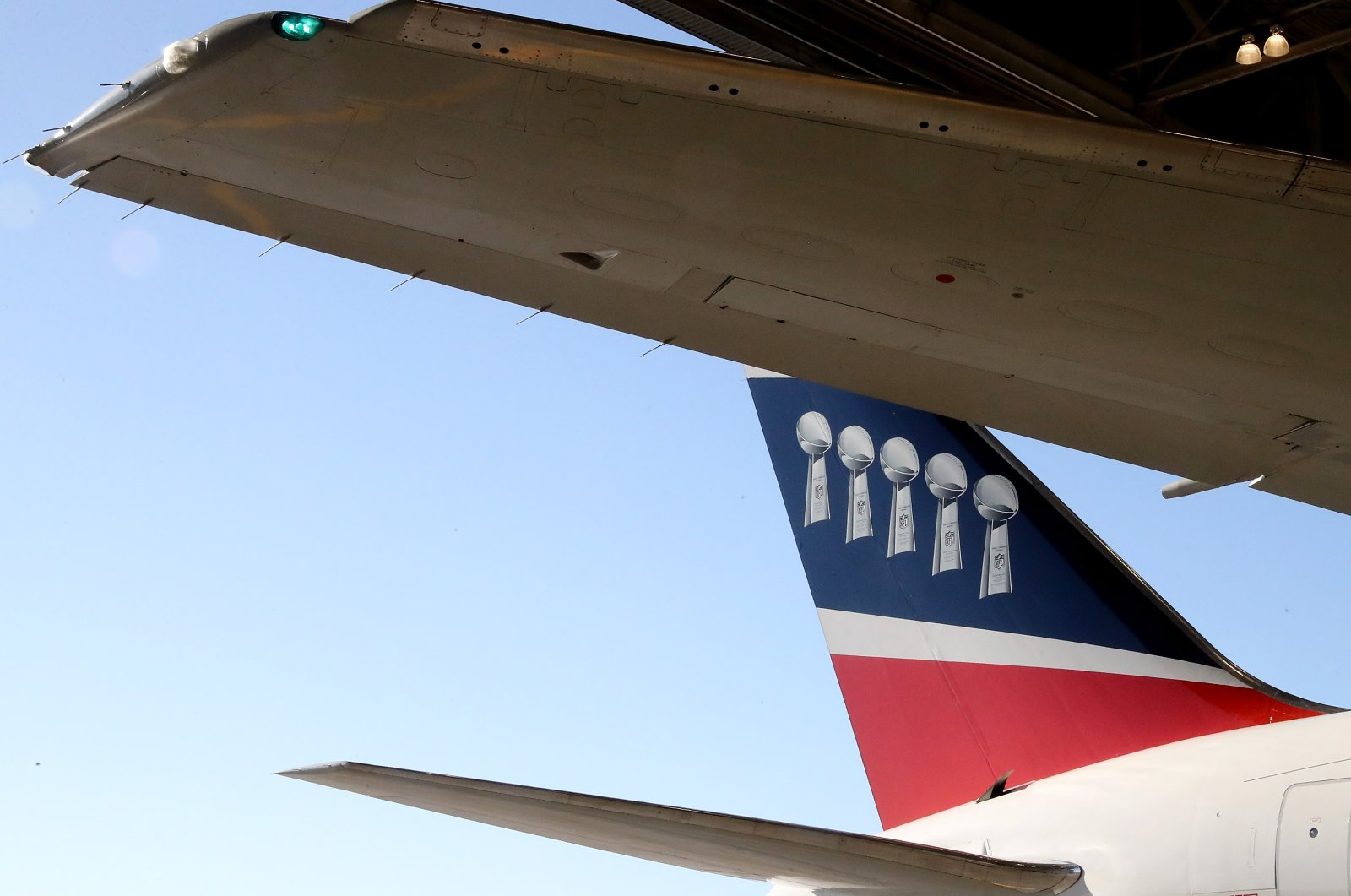 The tail of the New England Patriots plane as it arrives for Super Bowl LII at the Minneapolis-St. Paul International Airport in Minneapolis, Minnesota, Jan. 29, 2018. (AFP Photo)