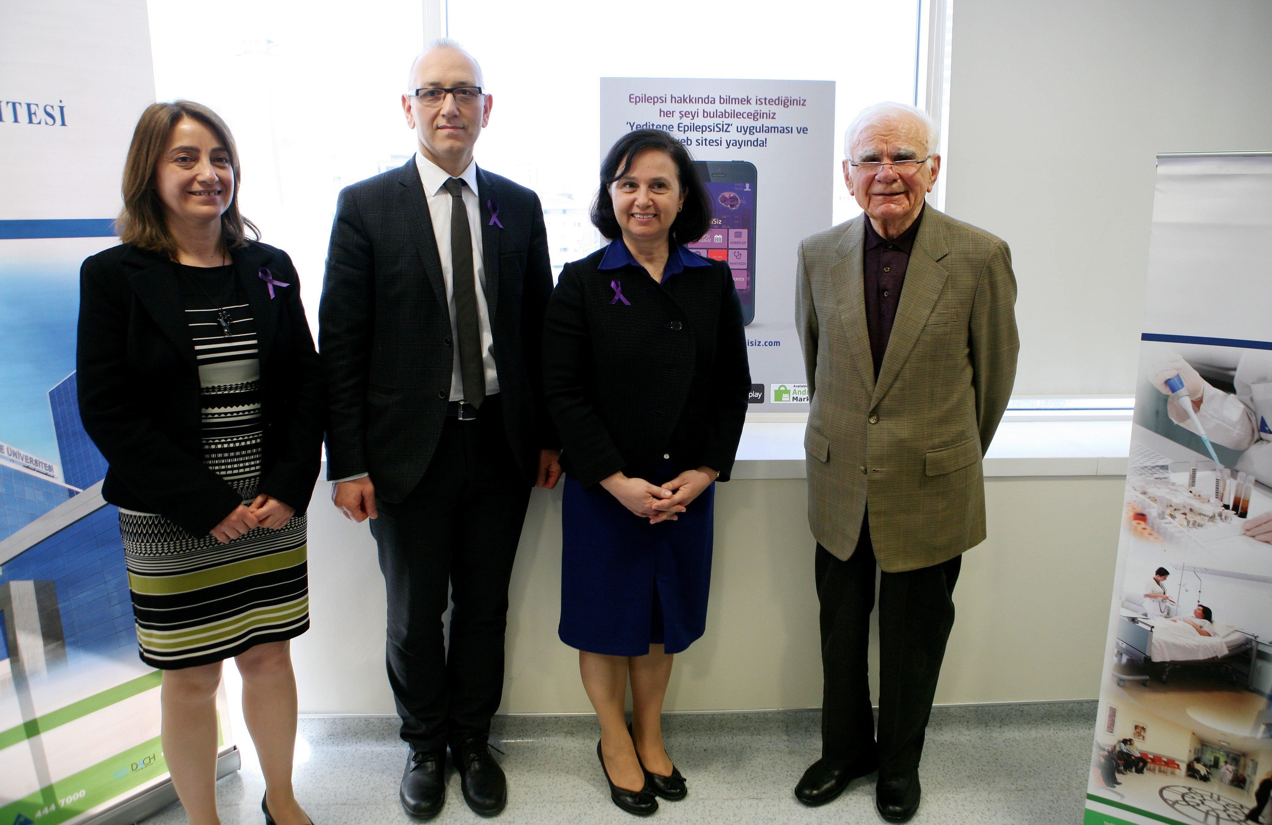 In this undated photo, from left to right, professor Berrin Aktekin, associate professor Faruk Yençilkek, professor Canan Aykut Bingöl and professor Gazi Yaşargil pose at Yeditepe University. (Photo by Erdoğan Yapık)