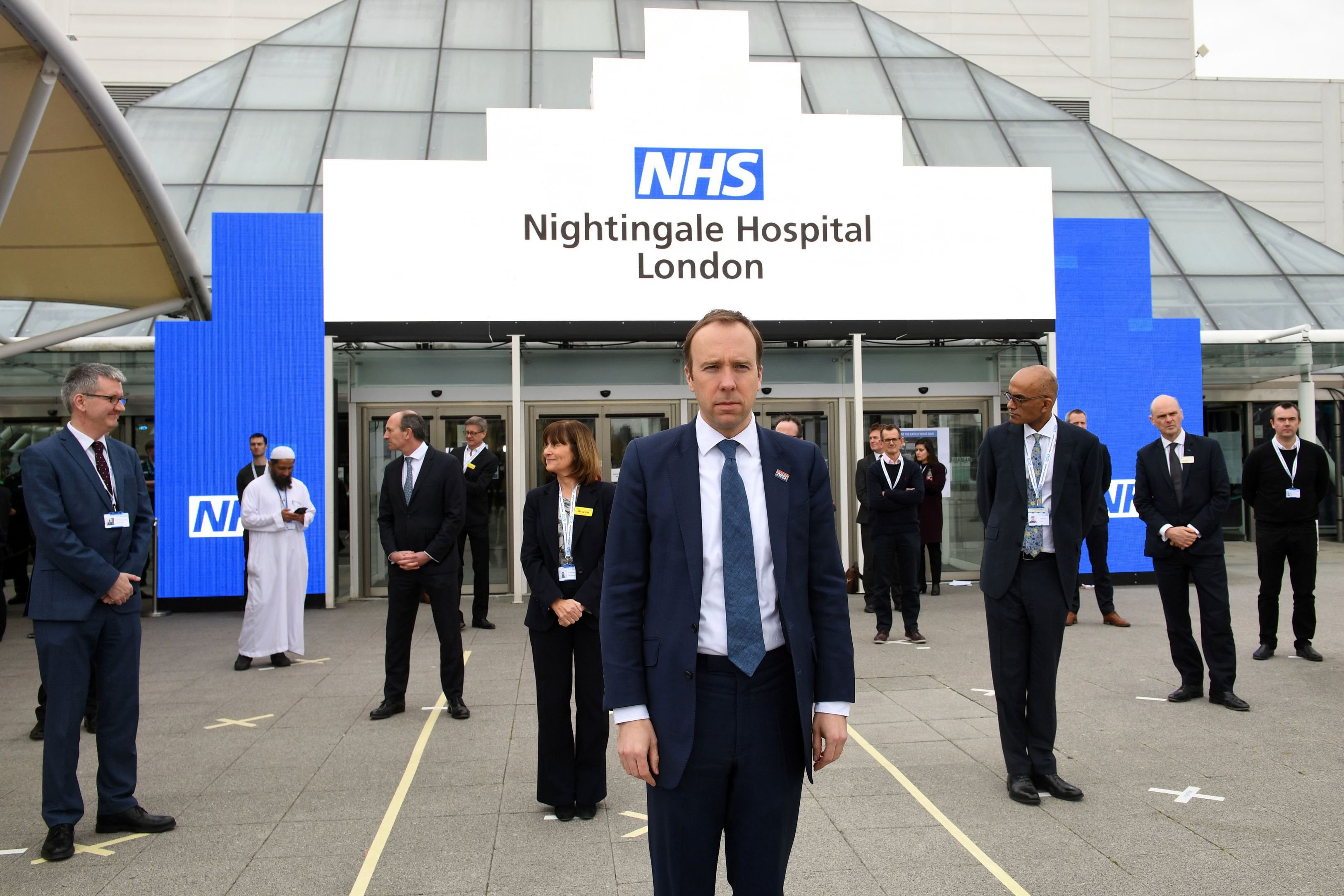 Britain's Health Secretary Matt Hancock prepares for the opening of the NHS Nightingale field hospital, created at the ExCeL London exhibition center, in London on Friday, April 3, 2020, to help patients suffering from the novel coronavirus. (AFP Photo)