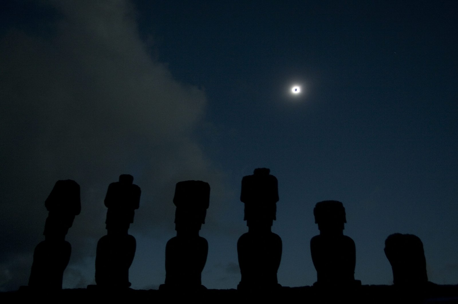 In this photo released by China's Xinhua News Agency, gigantic stone heads known as moais are silhouetted during a solar eclipse, Easter Island, Chile, July 11, 2010. (AP Photo)