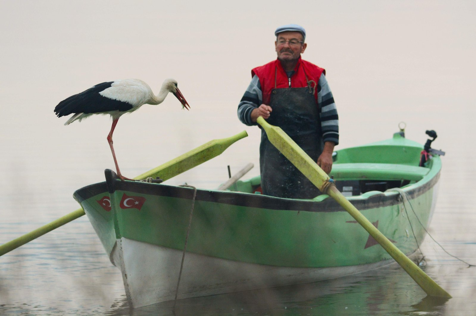 An undated photo showing Adem Yılmaz and Yaren the stork on Yılmaz's small boat. (İHA Photo)
