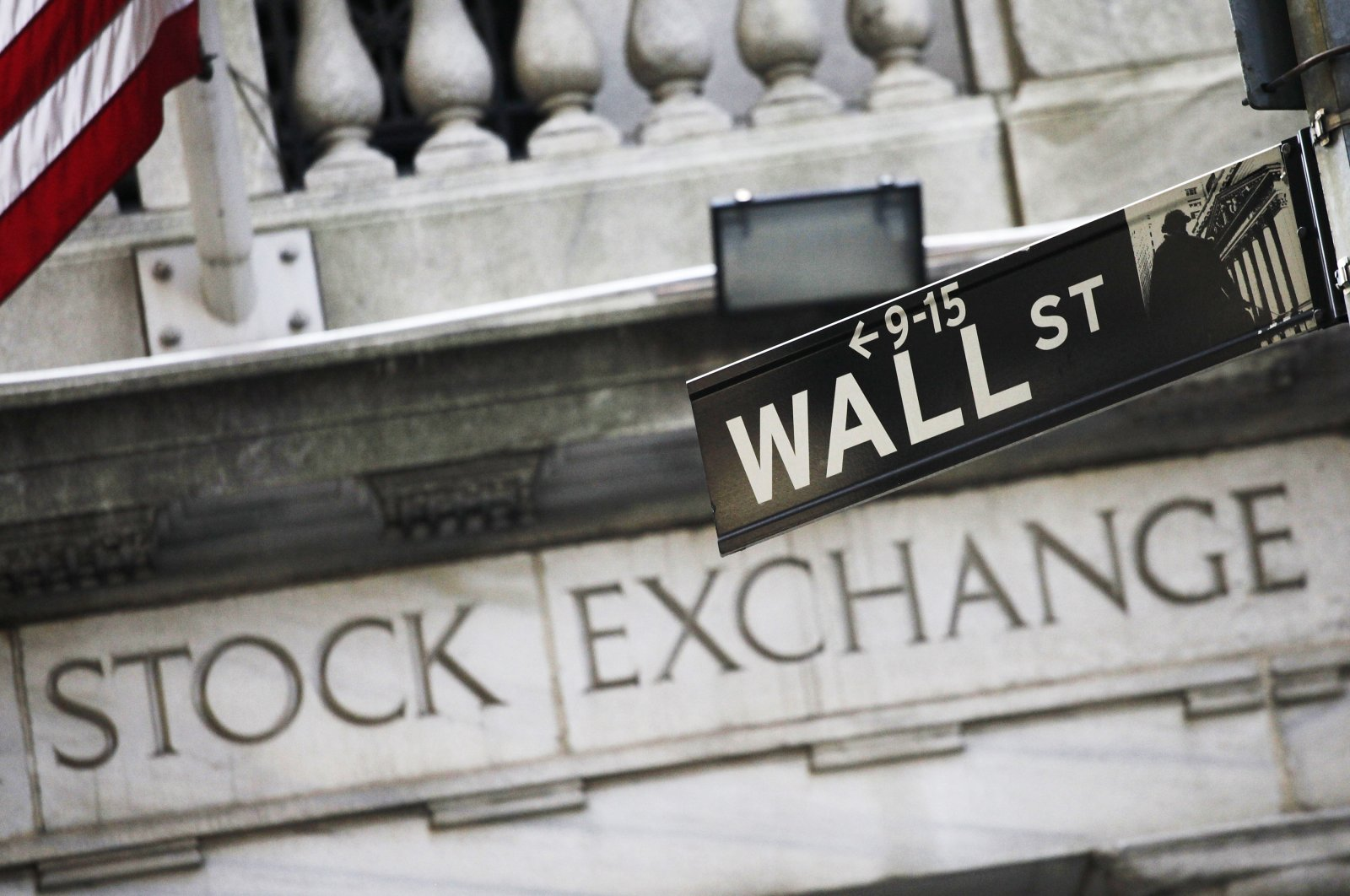 This file photo shows a street sign for Wall Street outside the New York Stock Exchange in New York, July 16, 2013. (AP Photo)