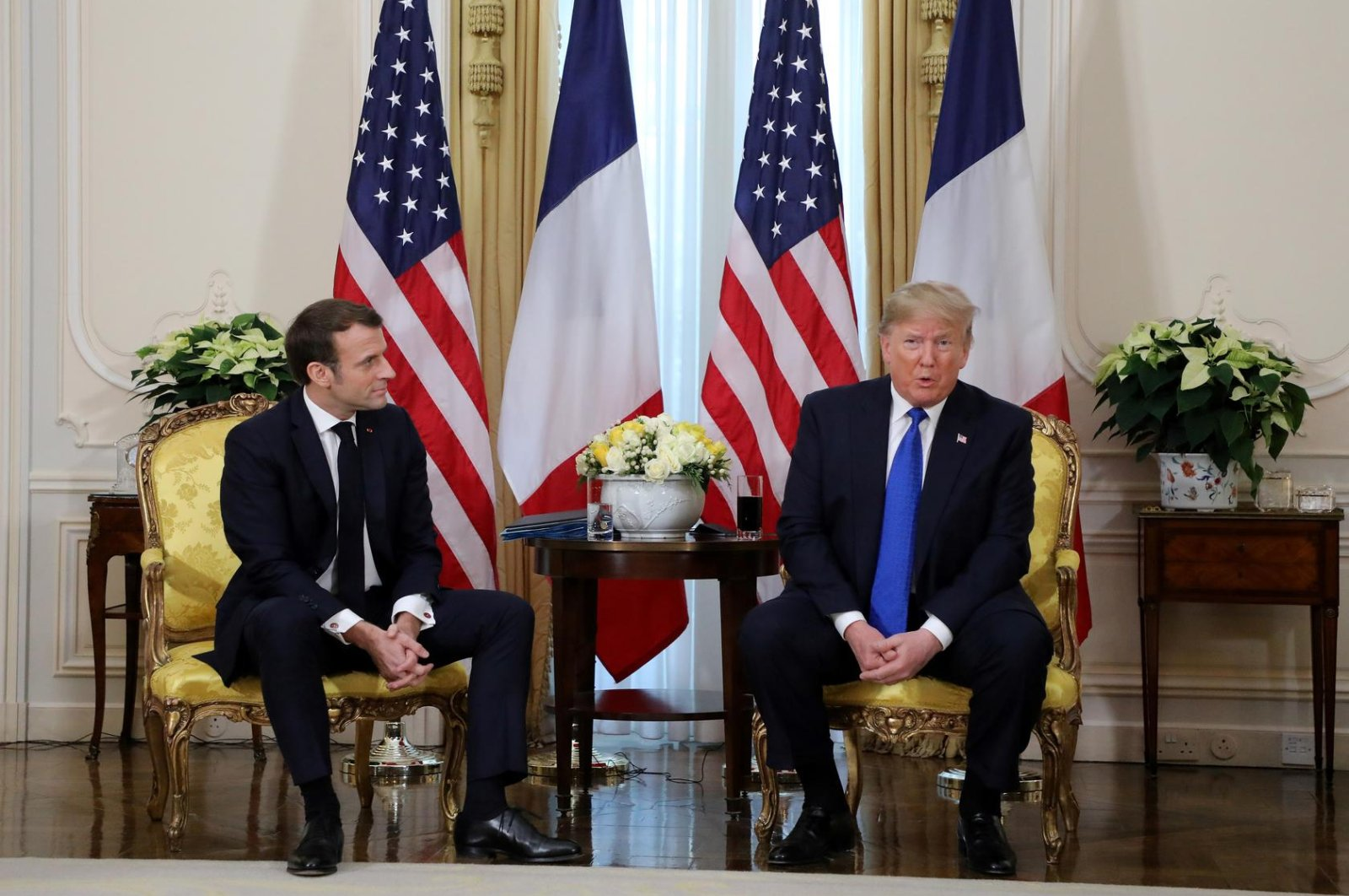 U.S. President Donald Trump meets with France's President Emmanuel Macron, ahead of the NATO summit, in Watford, in London, Britain, December 3, 2019. (Reuters Photo)
