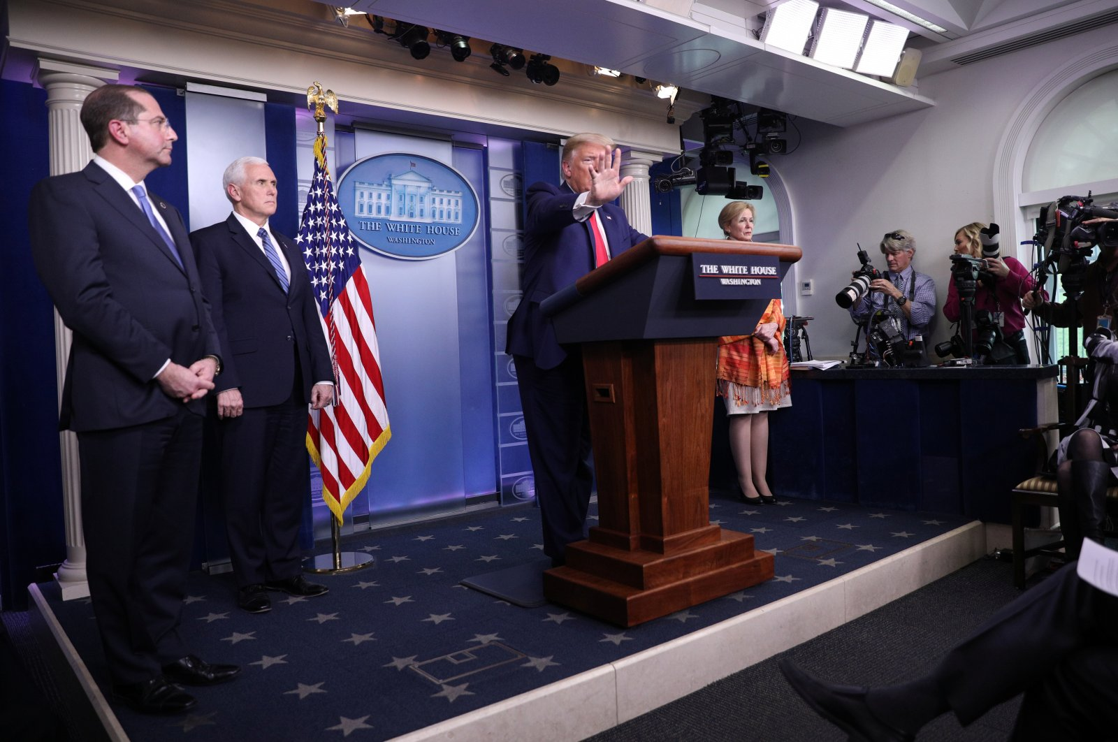 U.S. President Donald Trump puts his hand up to stop a followup question from CNN chief White House correspondent Jim Acosta as he leads the daily coronavirus task force briefing with Secretary of Health and Human Services Alex Acosta, Vice President Mike Pence and White House Coronavirus Response Coordinator Dr. Deborah Birx in the Brady press briefing room at the White House in Washington, U.S., April 3, 2020. (Reuters Photo)