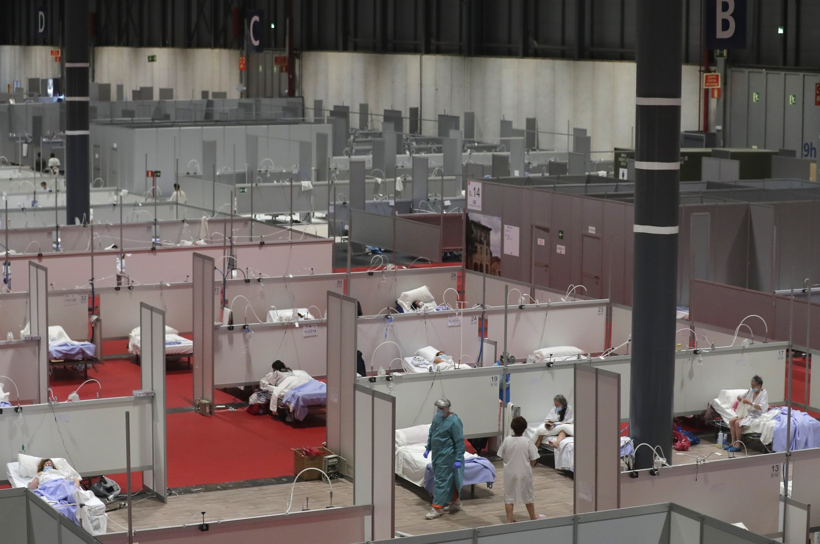 This photo taken on Thursday, April. 2, 2019 shows a general view of a temporary field hospital set at Ifema convention and exhibition in Madrid, Spain. (AP Photo)