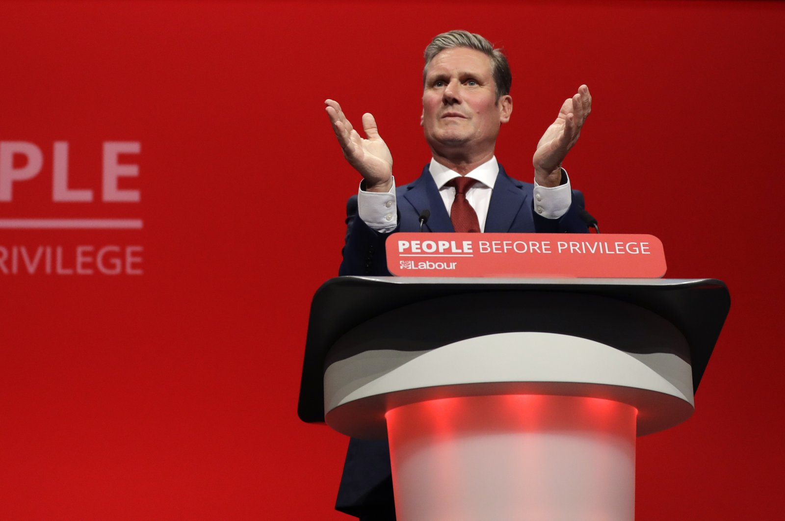 In this Monday, Sept. 23, 2019 file photo, Britain's Shadow Brexit Secretary Keir Starmer speaks on stage during the Labour Party Conference at the Brighton Centre in Brighton, England.(AP Photo)