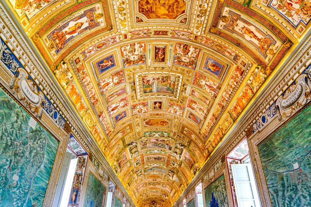 The fine craftsmanship on the ceiling of the Sistine Chapel in the Vatican Museum.
