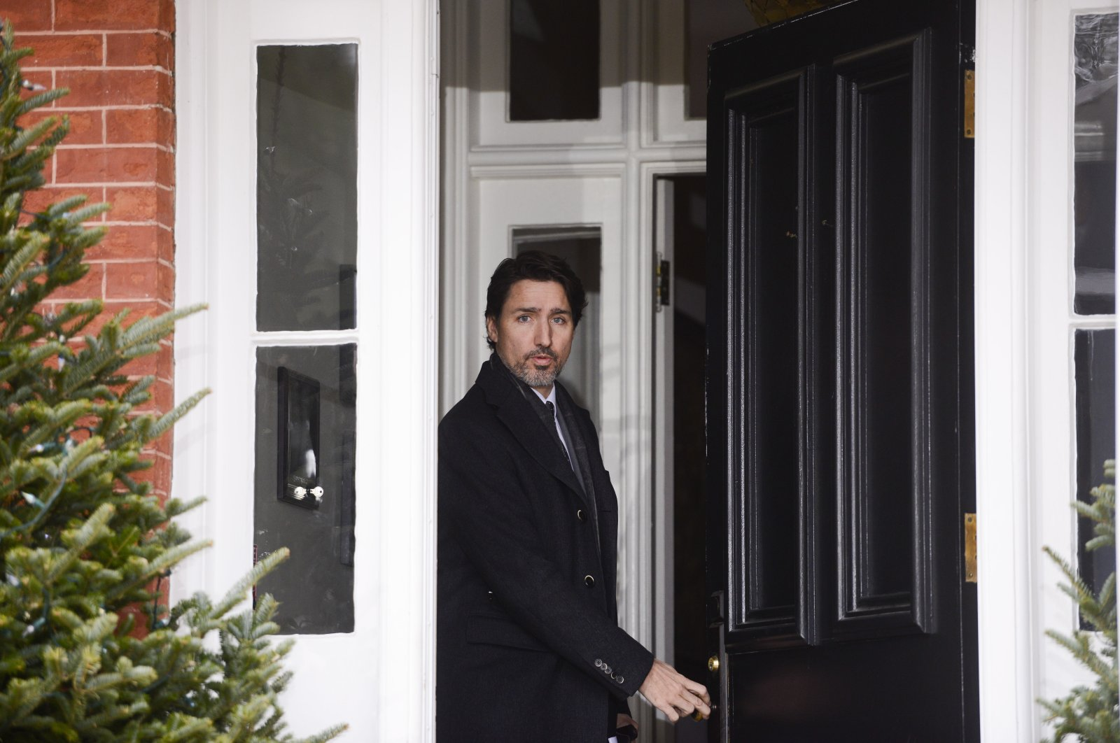 Canada Prime Minister Justin Trudeau arrives to address Canadians on the COVID-19 pandemic from Rideau Cottage in Ottawa, Ontario, Friday, April 3, 2020. (AP Photo)