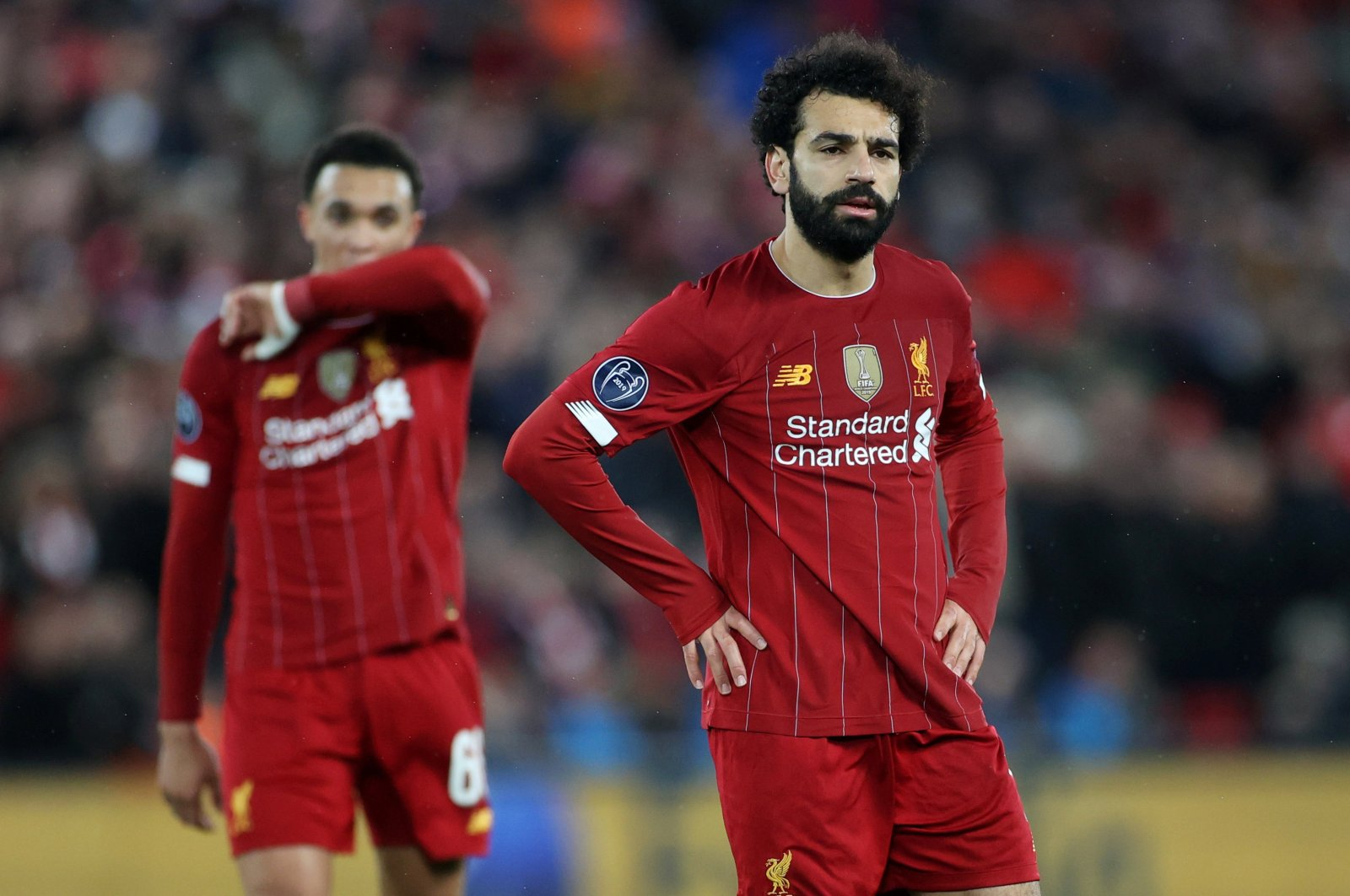 Liverpool's Mohamed Salah reacts during a Champions League match Against Atletico Madrid, Liverpool, Britain, March 11, 2020. (Reuters Photo)