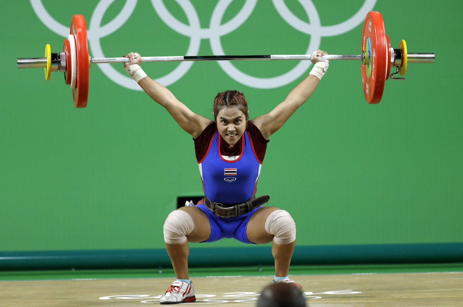 Sopita Tanasan of Thailand competes in the women's 48kg weightlifting competition at the 2016 Summer Olympics in Rio de Janeiro, Brazil, Aug. 6, 2016. (AP Photo)