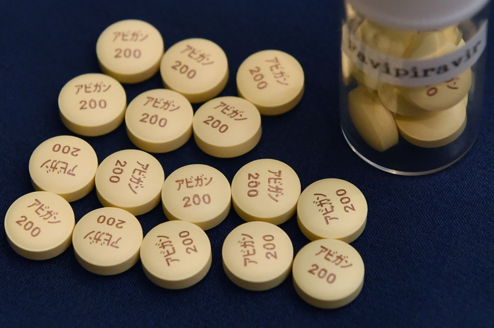 In this file photo taken on October 22, 2014 anti-influenza Avigan tablets produced by Japan's Fujifilm are displayed in Tokyo. (AFP Photo)