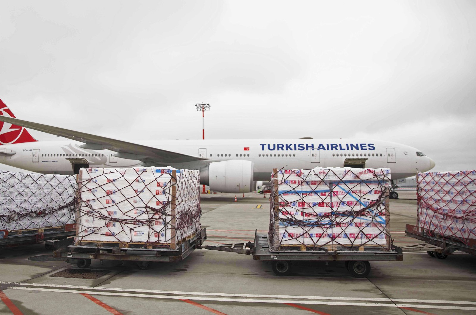 A Turkish Airlines plane used for cargo transportation on a tarmac in Istanbul, April 5, 2020. (AA Photo)