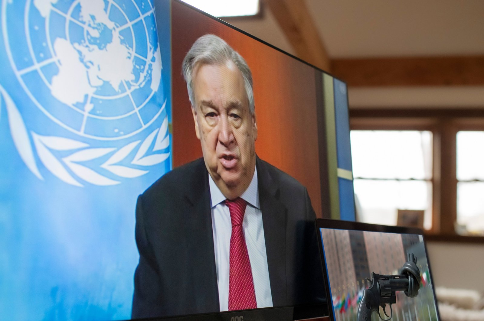 U.N. Secretary-General Antonio Guterres holds a virtual press conference at U.N. headquarters in New York City, Friday, April 3, 2020. (AFP/UN Photo)