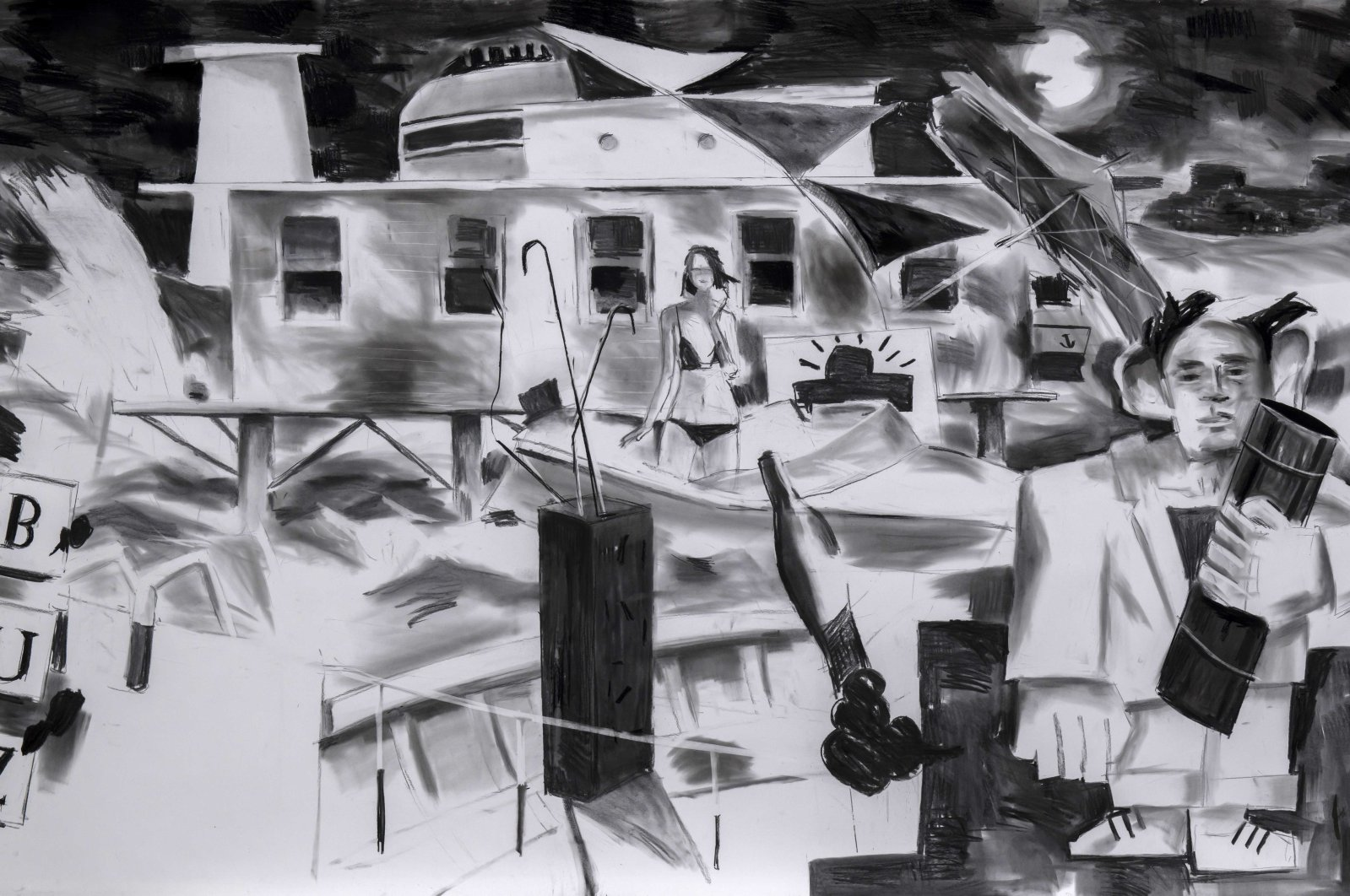 """""""Haygaz"""" by Antonio Cosentino, charcoal on paper, 150-by-260 centimeters, 2020."""