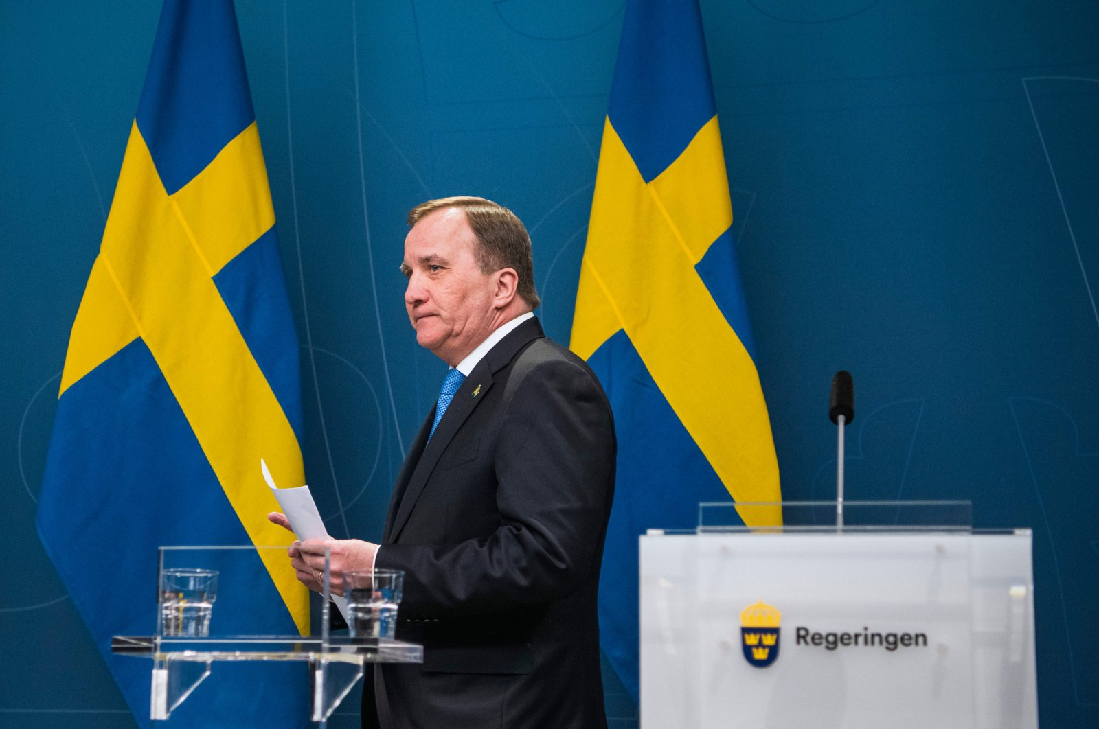 Swedish Prime Minister Stefan Lofven attends a press conference about the COVID-19 pandemic at the government's headquarters in Stockholm, Sweden, Tuesday, March 31, 2020. (AFP Photo)