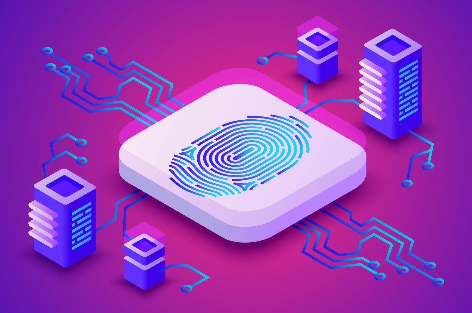 Biometrics blockchain technology vector illustration.