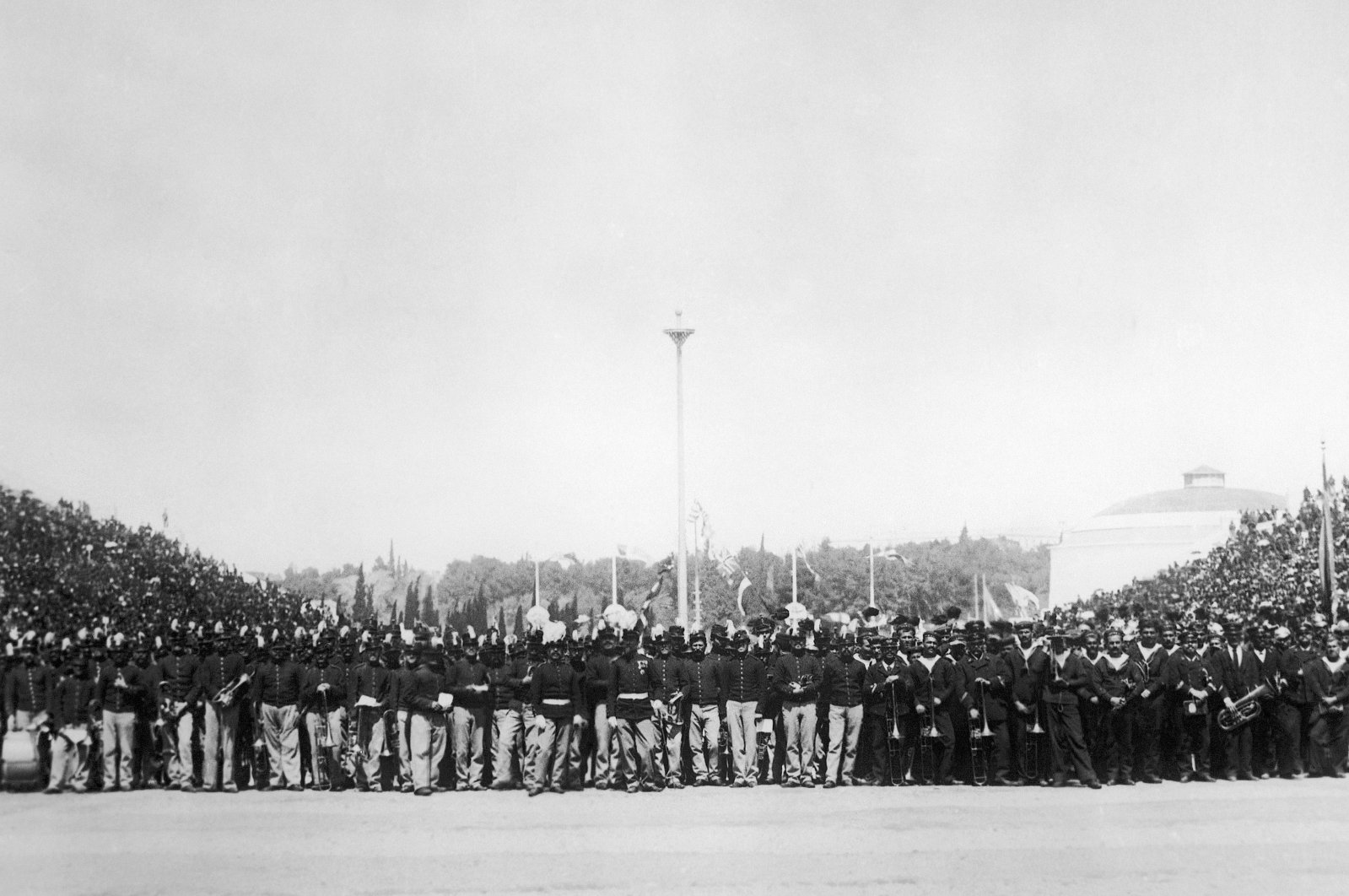A general view of the huge audience at the opening of the first modern Summer Olympic Games, Athens, Greece, April 6, 1896. (AP Photo)