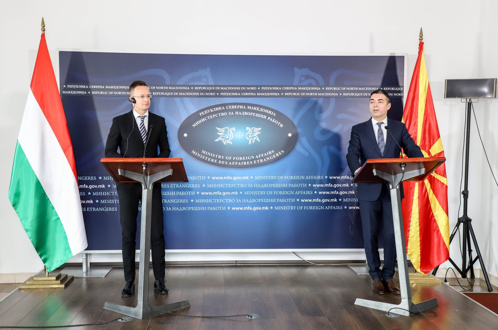 North Macedonia's Foreign Minister Nikola Dimitrov (R) speaking at a joint press conference with his Hungarian counterpart Peter Szijjarto (L), Monday, April 6, 2020. (AA Photo)