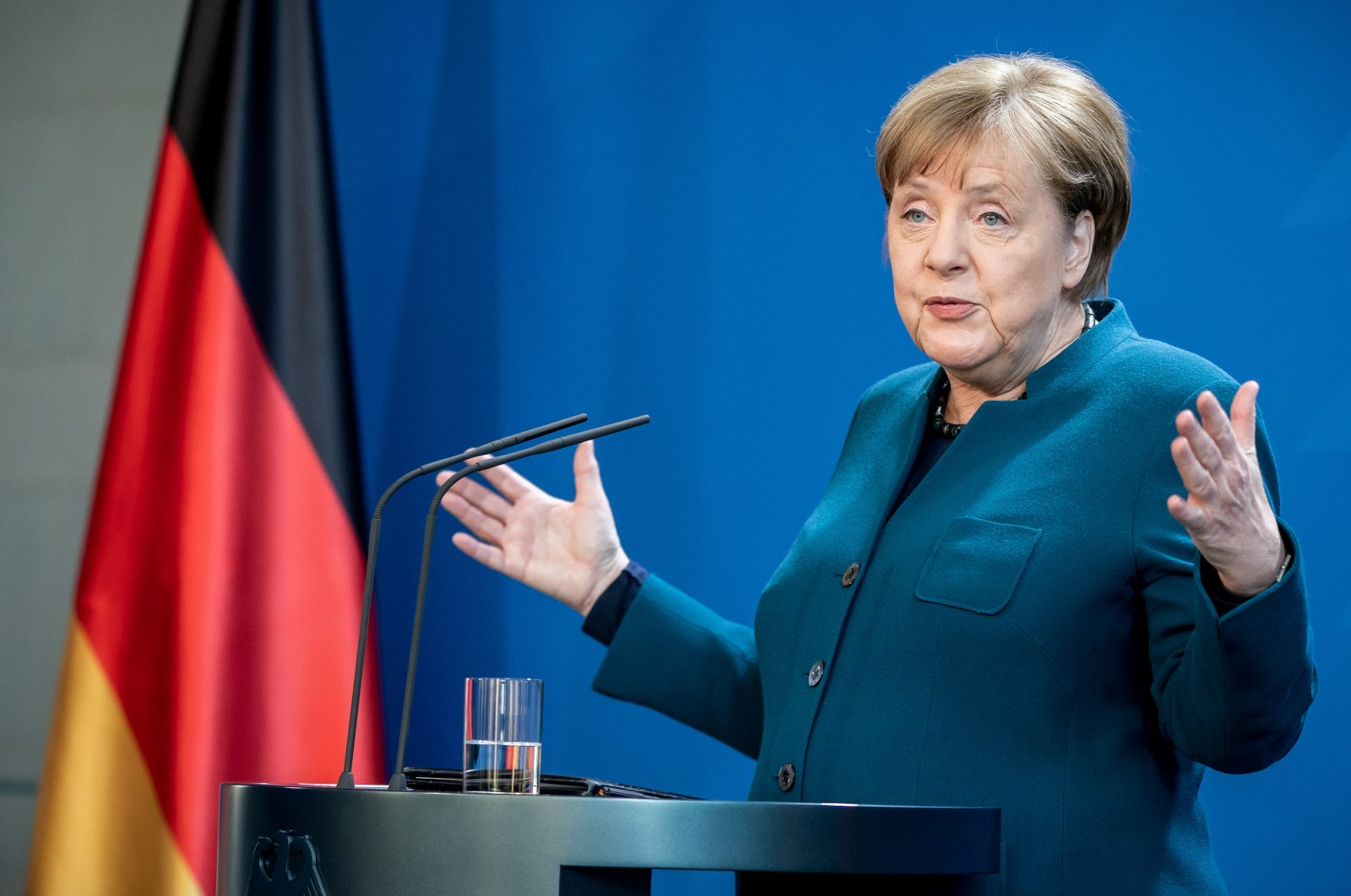 German Chancellor Angela Merkel gives a statement to the media on the spread of the coronavirus at the Chancellery, Berlin, Germany, March 22, 2020. (Reuters Photo)