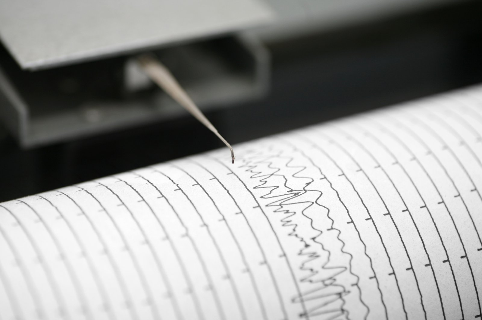 An undated cropped detail shot of a seismometer printing line. (iStock Photo)