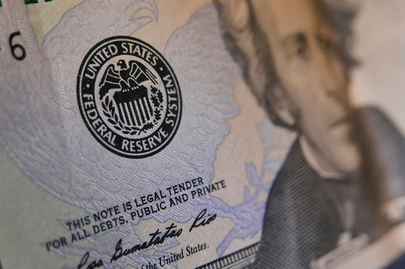 The seal of the Federal Reserve is seen on a U.S. banknote on June 1, 2016. (AFP Photo)