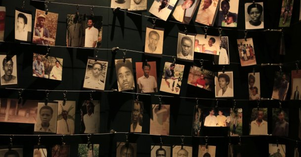 Photographs of people who were killed during the 1994 genocide are seen inside the Kigali genocide memorial, Kigali, Apr. 5, 2014. (REUTERS Photo)