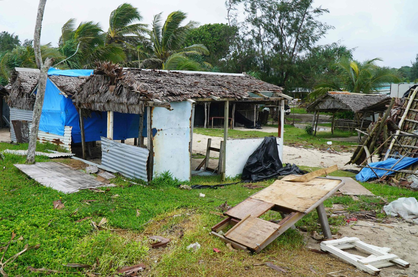 Badly damaged buildings are pictured near Vanuatu's capital of Port Vila, Tuesday, April 7, 2020. (AFP Photo)
