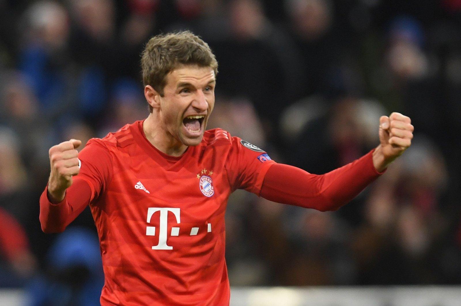 Thomas Müller celebrates a goal during a Champions League match in Munich, Dec. 11, 2019. (AFP Photo)