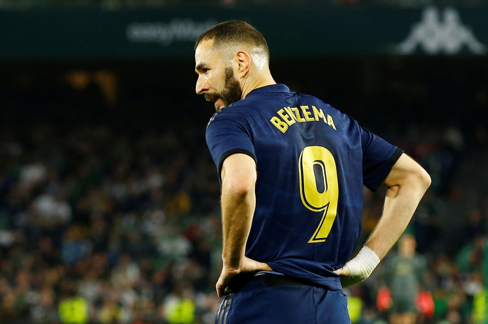Real Madrid's Karim Benzema reacts during a La Liga match against Real Betis in Seville, Spain, March 8, 2020. (Reuters Photo)