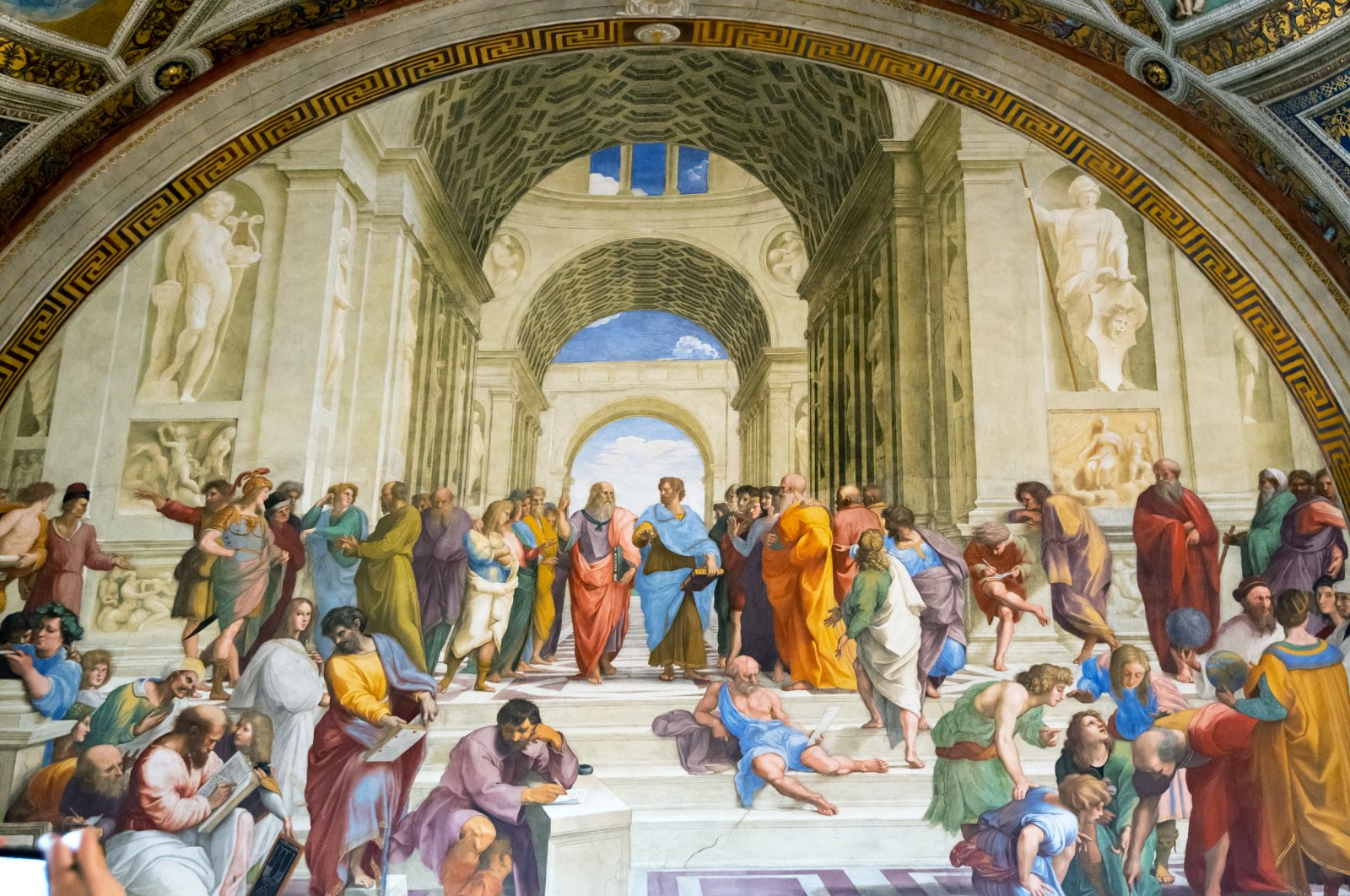 """""""The School of Athens,"""" Renaissance fresco by Raphael in the four Raphael Rooms, Vatican Museum, Italy. (shutterstock photo)"""