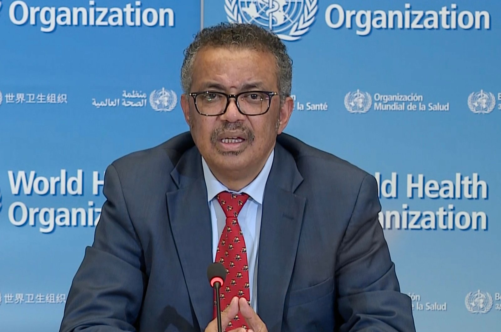 WHO Director-General Tedros Adhanom Ghebreyesus attends a virtual news briefing on COVID-19 at the WHO headquarters, Geneva, Switzerland, Monday, April 6, 2020. (AFP Photo)