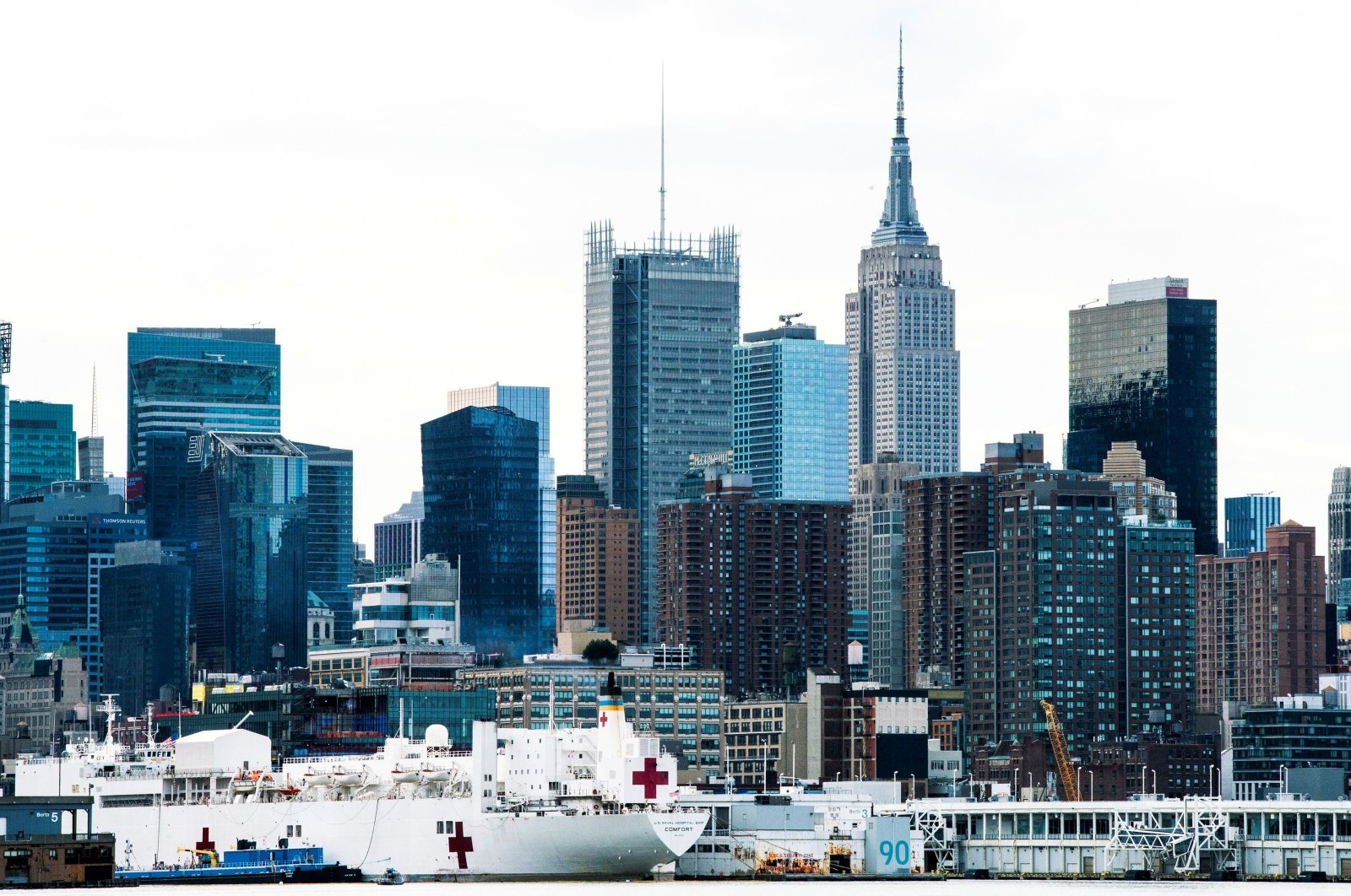 The USNS Comfort, a naval hospital ship with a 1,000 bed-capacity, seen docked at Pier 90 in New York, April 7, 2020. (Reuters Photo)