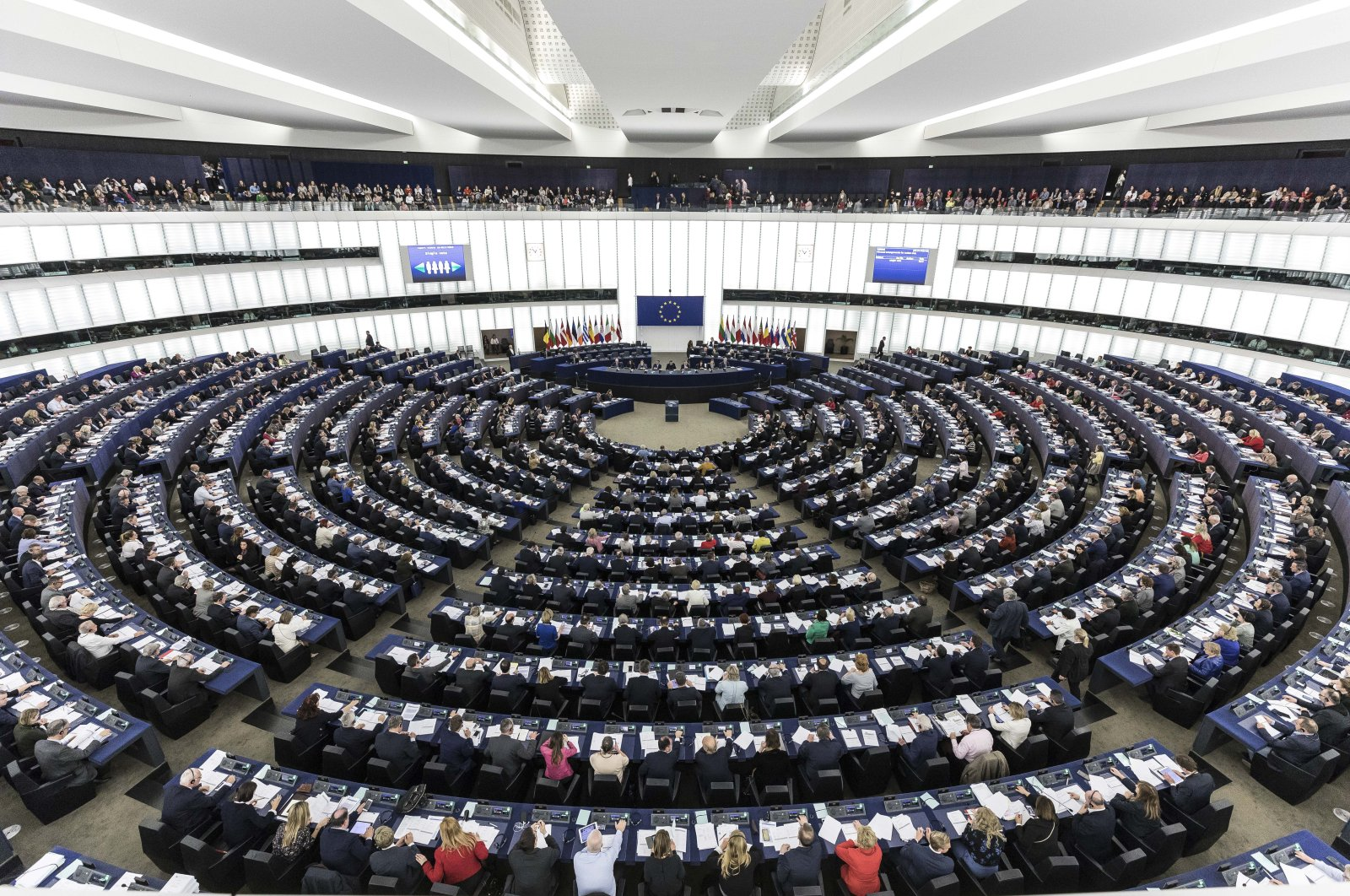 The European Parliament during a plenary session, Strasbourg, Friday, March 27, 2019. (AP Photo)
