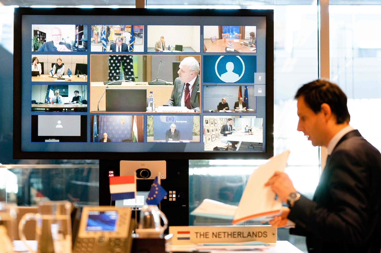 The finance minister of the Netherlands, Wopke Hoekstra, looks on during a videoconference with EU finance ministers in The Hague during discussions on the economic effects of the ongoing coronavirus situation, Tuesday, April 7, 2020.