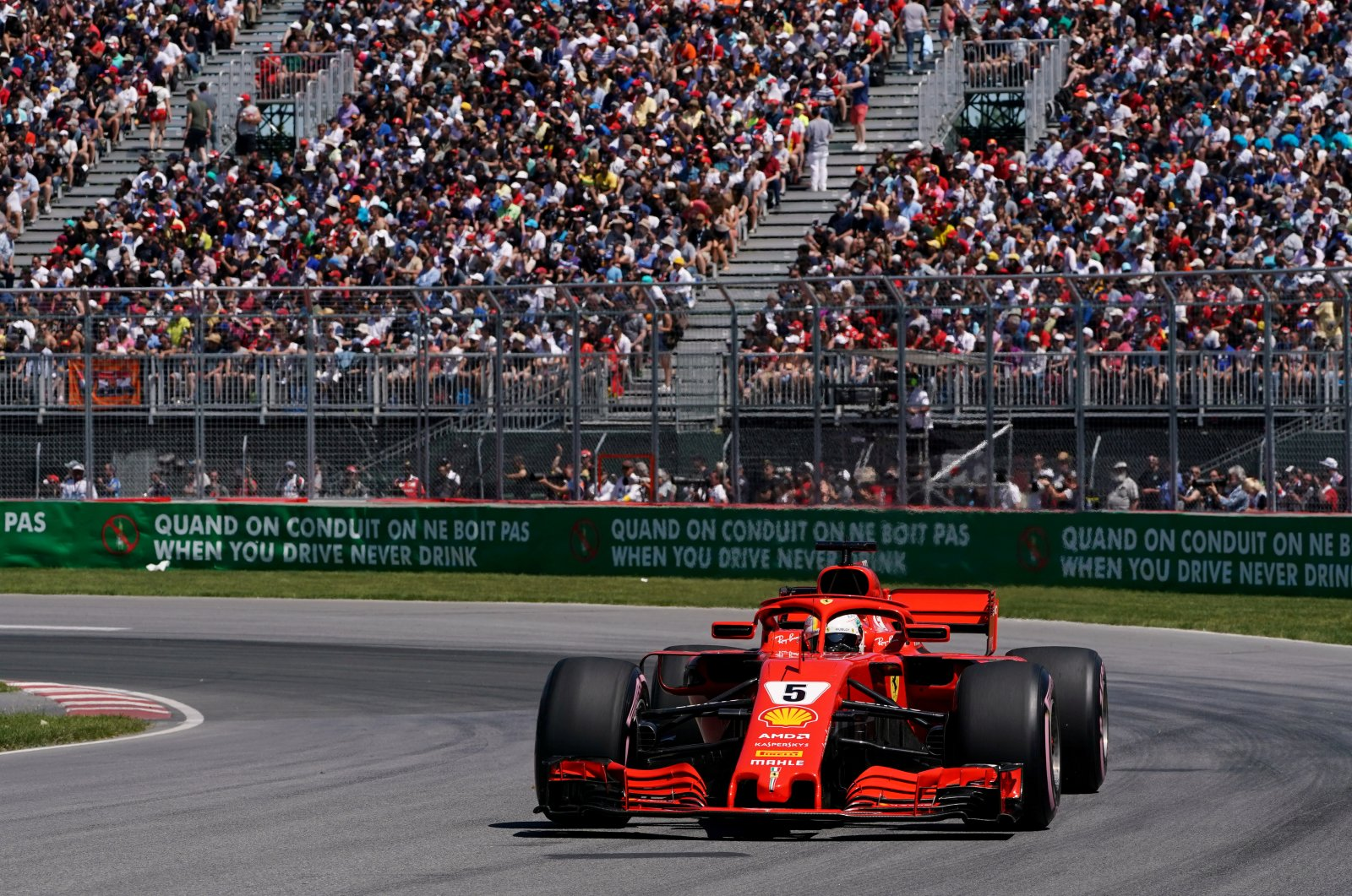 Ferrari's Sebastian Vettel in action during Canda Grand Prix qualifying, Montreal, June 9, 2018. (Reuters Photo)
