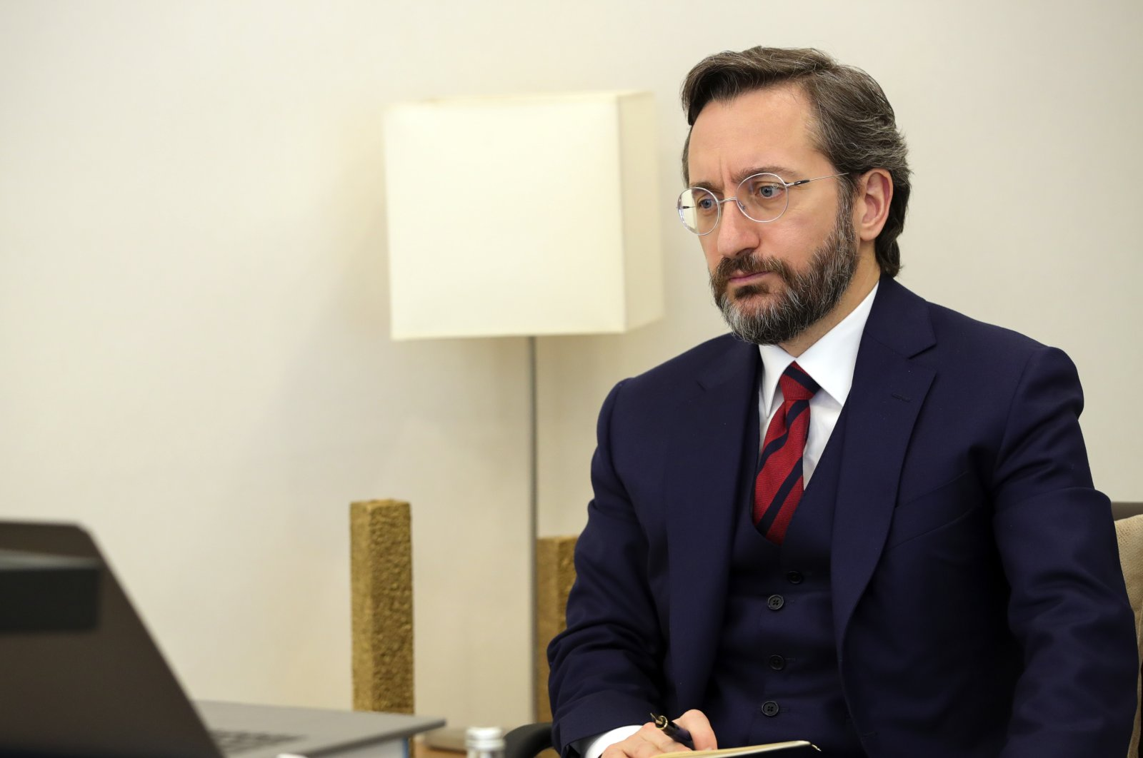 Presidential Communications Director Fahrettin Altun holds a videoconference on international cooperation against COVID-19, April 8, 2020. (Courtesy of the Directorate of Communications)