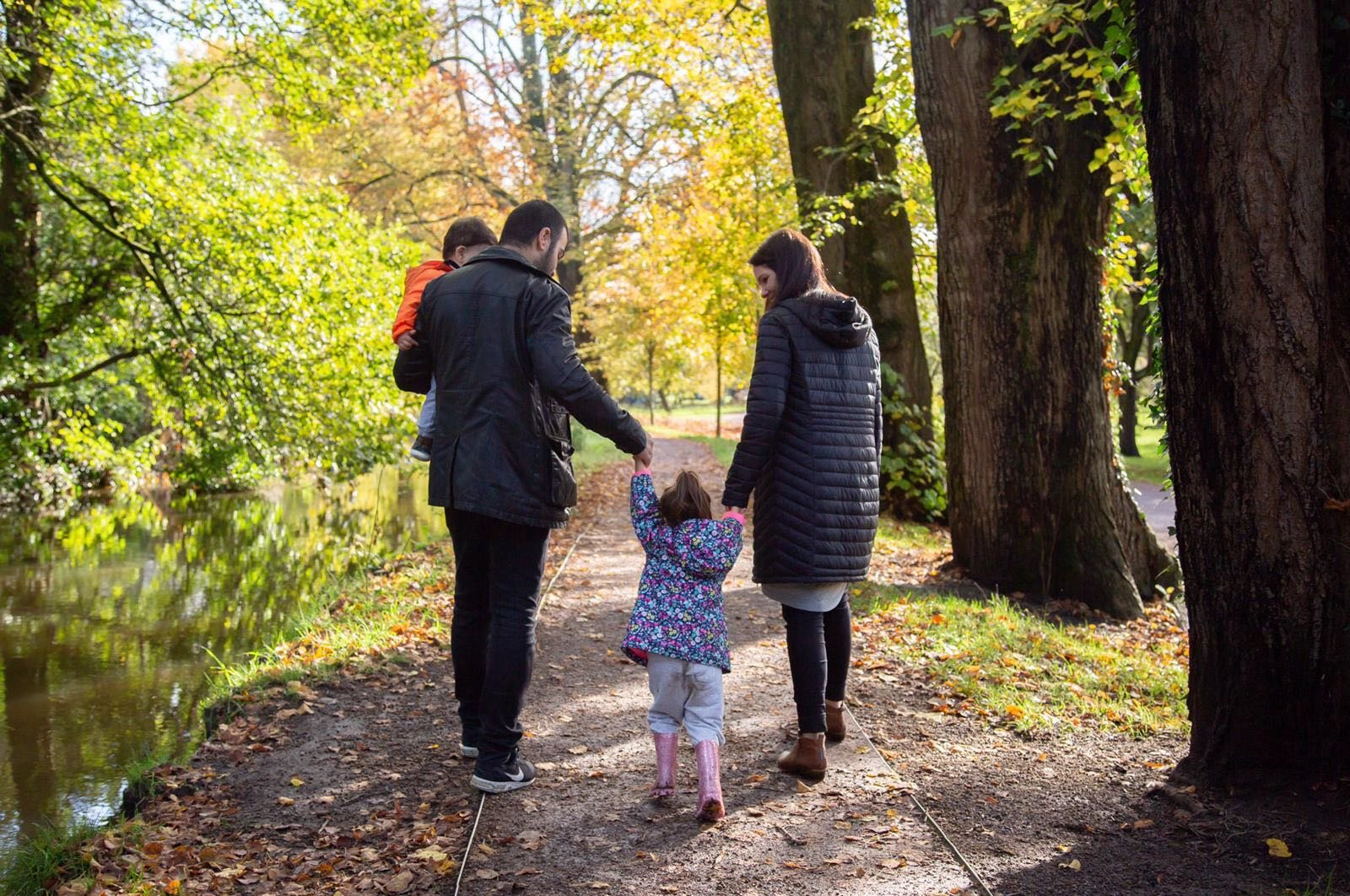 Abdullah Çelik and his family are having a walk in a park in Cardiff, U.K. (Photo by Sarah Steil)