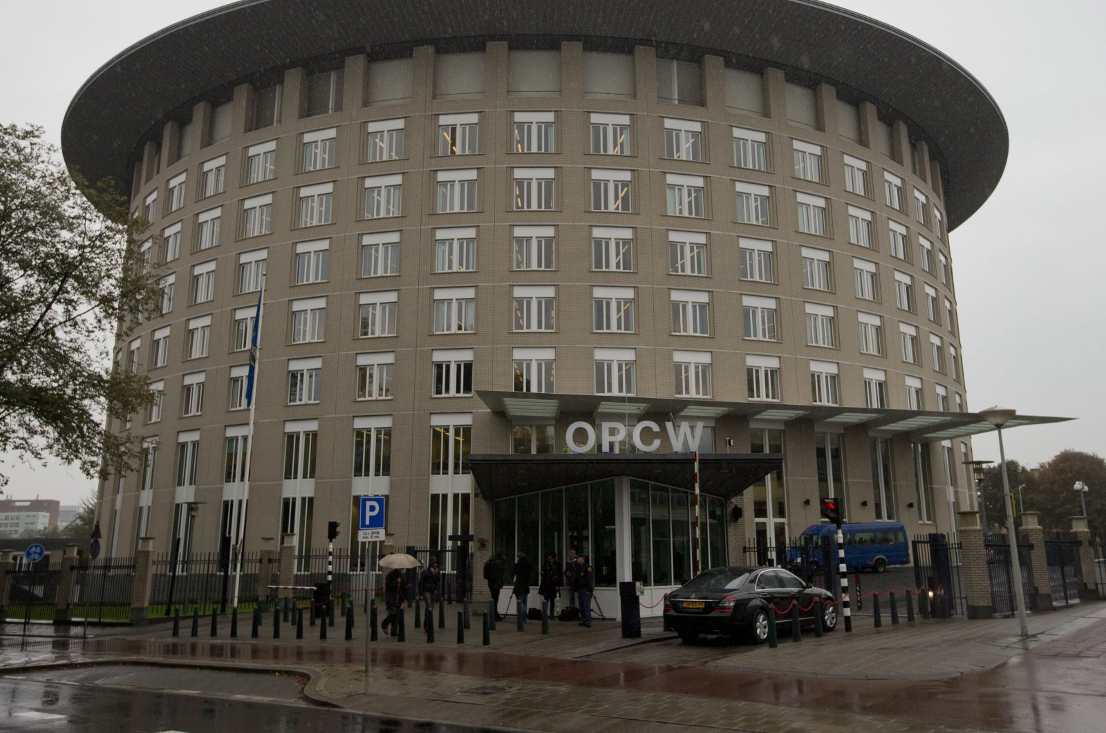An exterior view of the headquarters of the world's chemical watchdog OPCW, in The Hague, Netherlands, Oct. 11, 2013. (AP Photo)