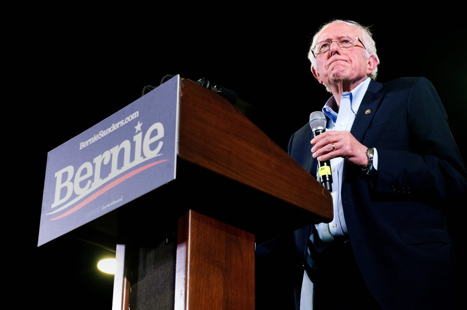 Vermont Sen. Bernie Sanders addresses supporters during a campaign rally in Denver, Colorado, Feb. 16, 2020. (AFP Photo)