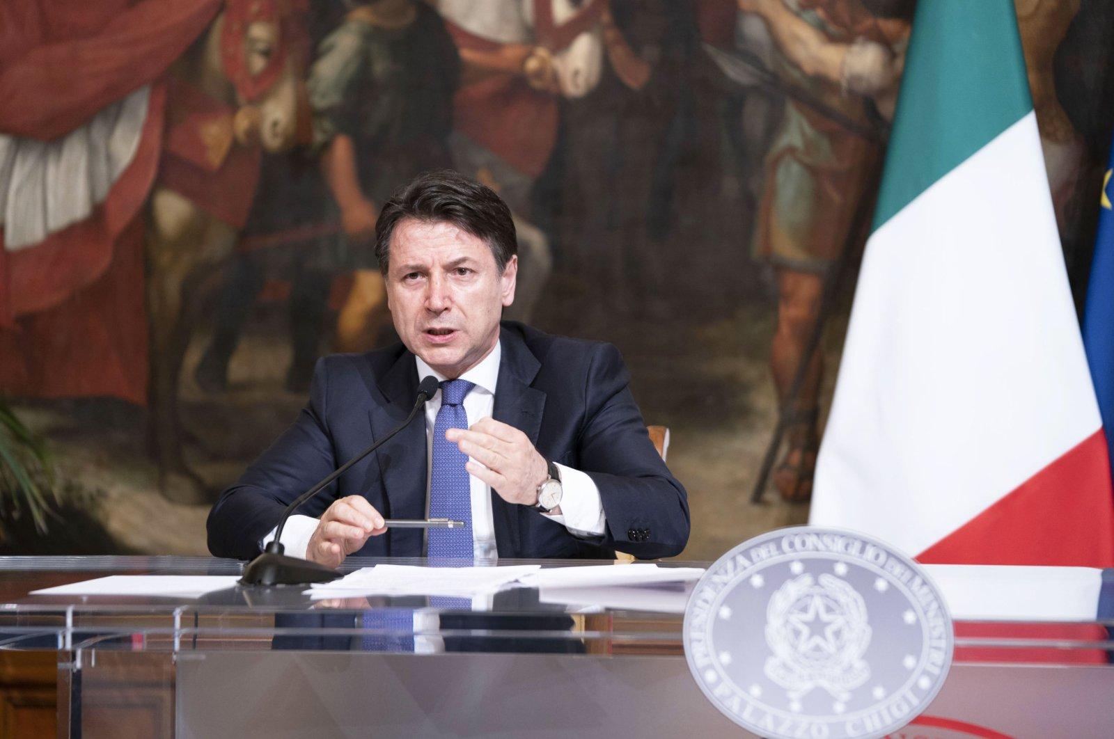 Italian Prime Minister Giuseppe Conte attending a press conference at Palazzo Chigi, Rome, March 28, 2020. (EPA Photo)