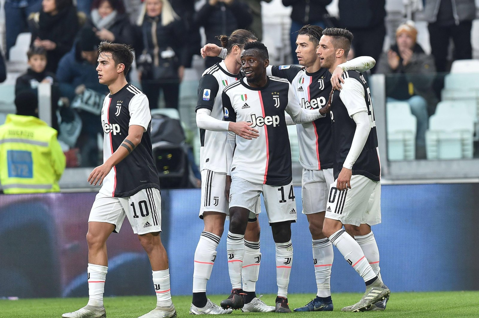 Juventus players celebrate a goal during a Serie A match against Udinese Calcio in Turin, Dec. 15, 2019. (EPA Photo)