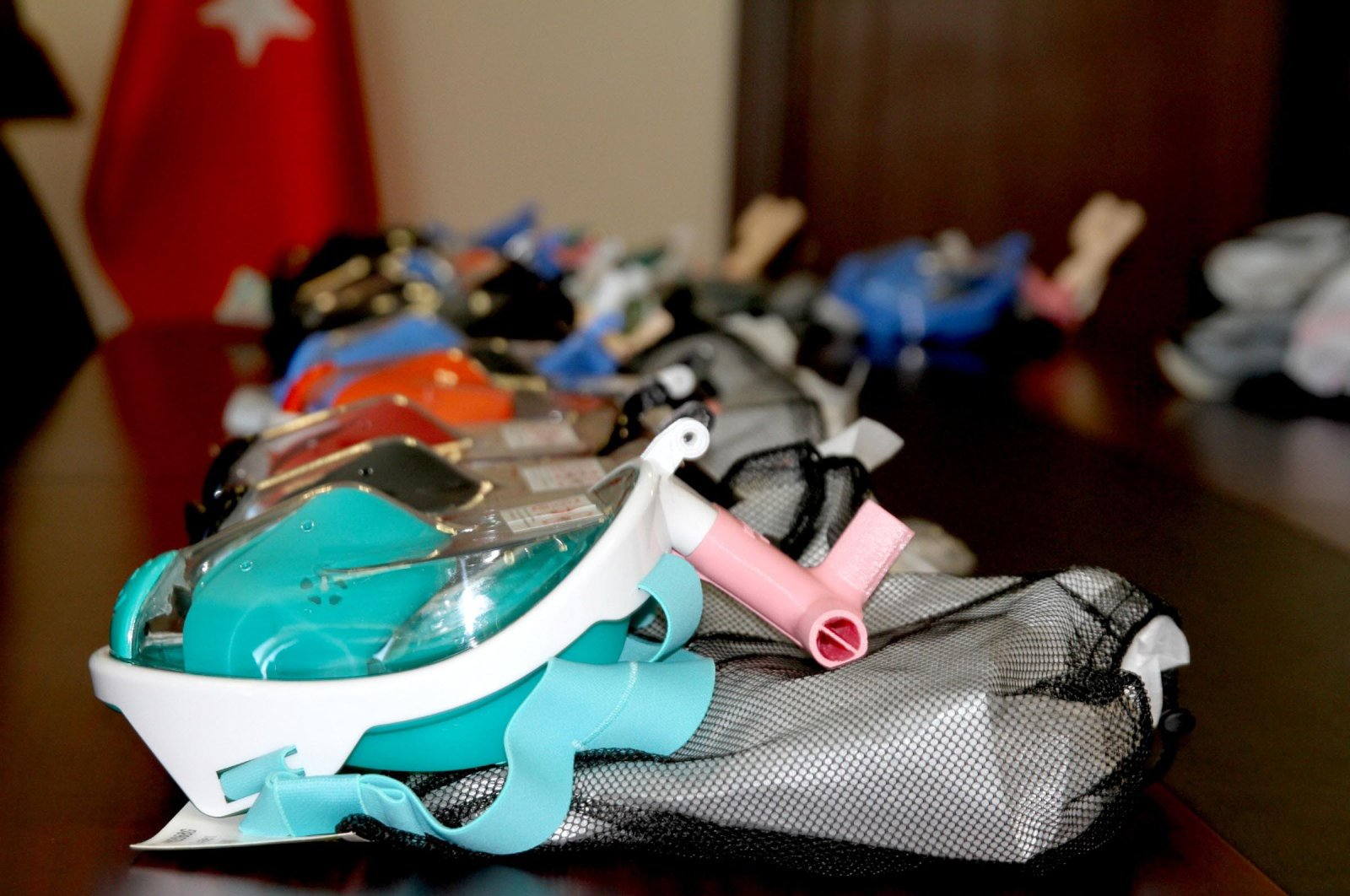 Masks that were manufactured by Trakya University with 3D printers, Edirne, Turkey, April 9, 2020. (DHA Photo)