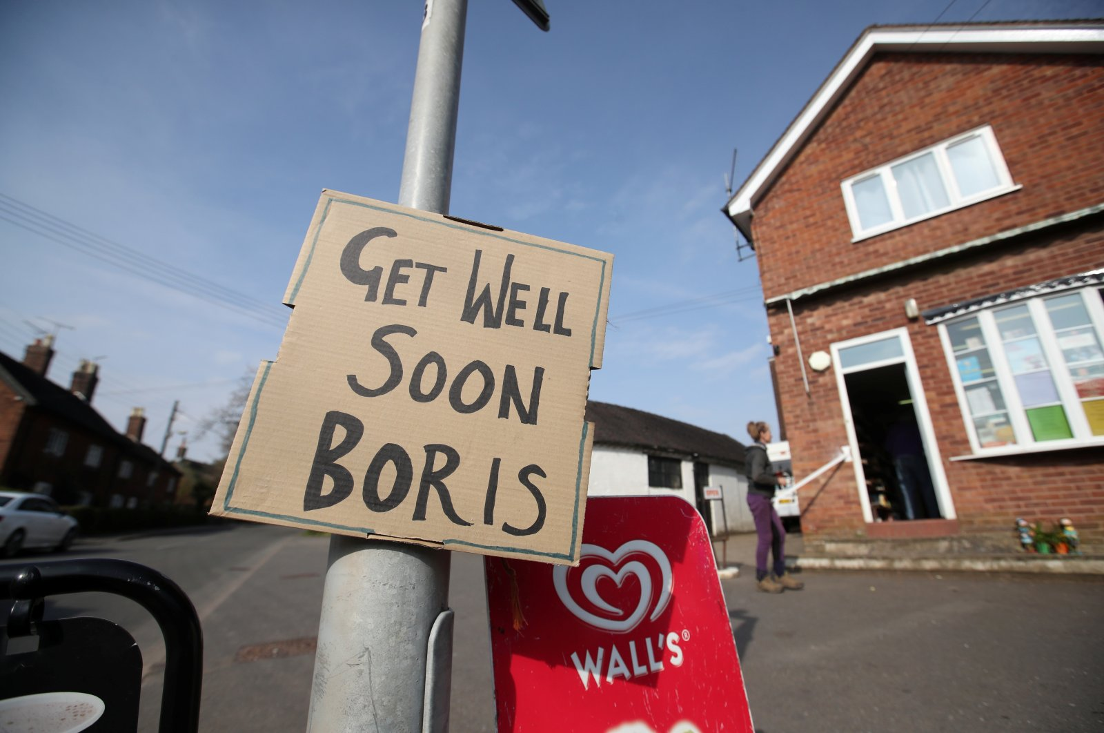 A sign of support for British Prime Minister Boris Johnson, in Swynnerton, Britain, Thursday, April 9, 2020. (REUTERS Photo)